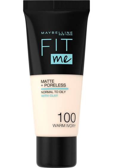 Fit Me! Matte + Poreless Make-up in der Nuance 100, Warm Ivory, von Maybelline New York